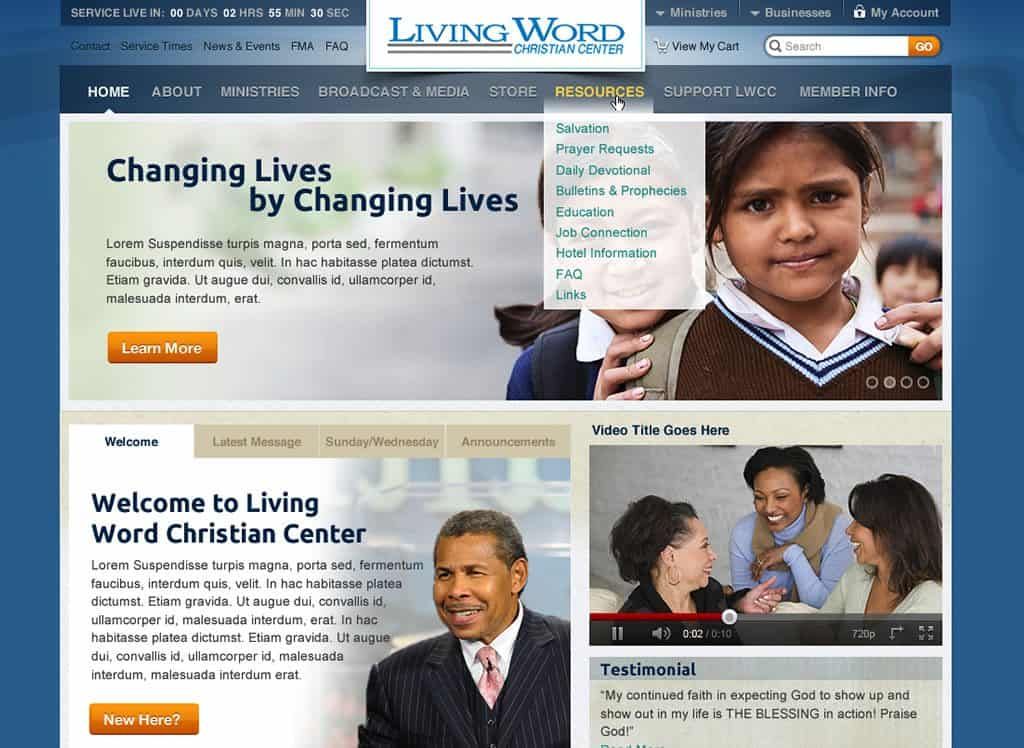 Living Word Website Design